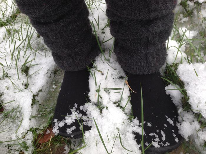 In Socken im Schnee...
